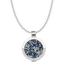 Vinnie Diseño Joyería 80 cm cadena de plata con medio portador y Deluxe multi coin set collar colgante de cristal azul Del Pacífico