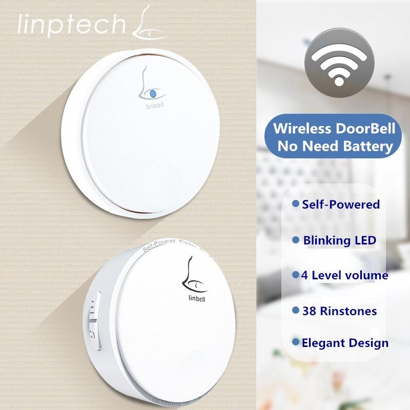 Linptech Linbell G2 wireless doorbell no battery needed 2 doorbell buttons 3 doorbell receivers wireless doorbell 3 receivers 2 receivers 60 buzzers wireless restaurant buzzer caller table call calling button waiter pager system