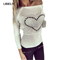 Young Ladies' Sweet Heart Pachwork Solid O Neck Long Sleeves Pullovers Knitted Sweater With Back Bow Tops