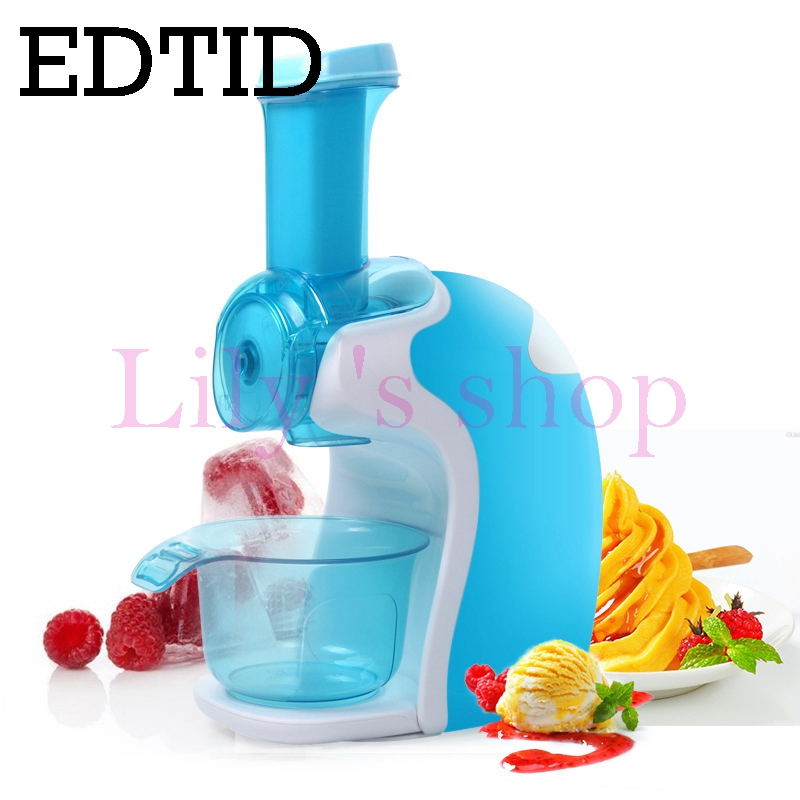 Full automatic electric ice cream machine household mini DIY soft icecream maker Cold Frozen Fruits dessert drink dispenser EU edtid portable automatic ice maker household bullet round ice make machine for family small bar coffee shop 220 240v 120w eu us