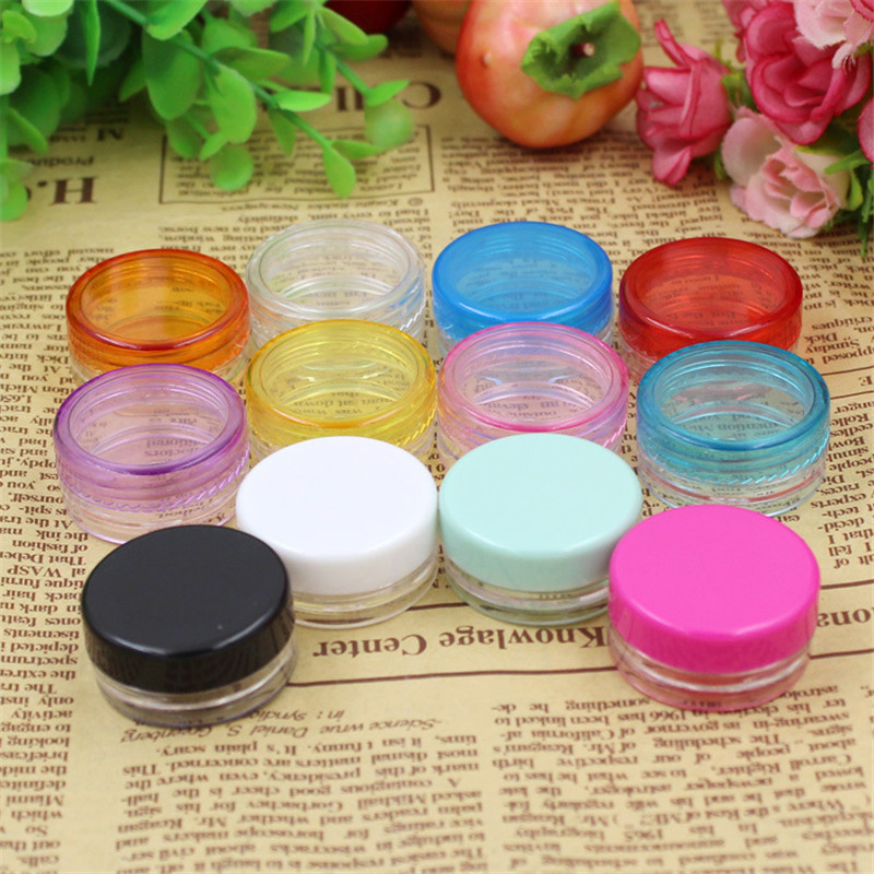 10pcs/lot 3g Mix Color Small Empty Cosmetic Refillable Bottles Plastic Eyeshadow Makeup Face Cream Jar Pot Container Bottle