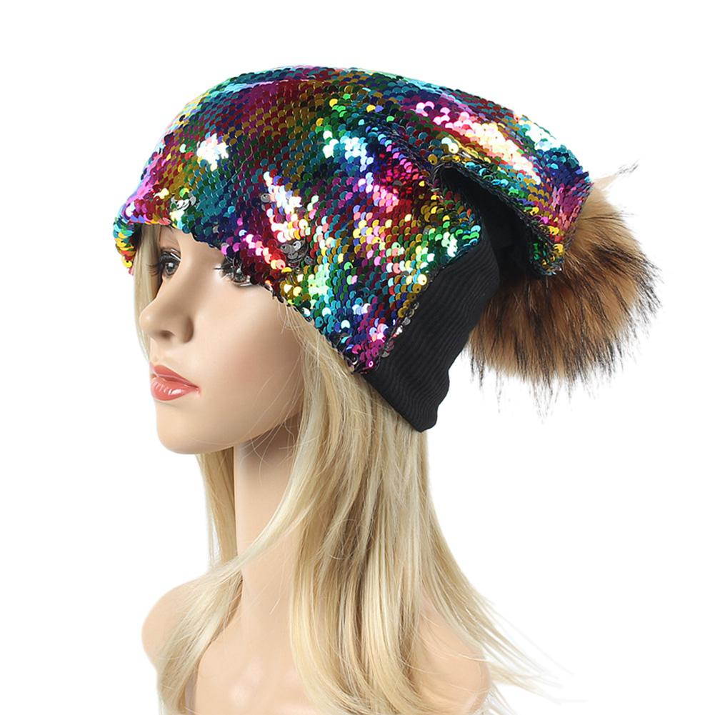 Zacoo Female Winter Warm Beanie Hats Wool Knitted Flashing Shimmer Cap San0 Apparel Accessories