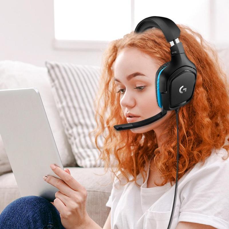 Casque de jeu Logitech G431 filaire DTS 7.1 Surround avec micro pour accessoires de musique de haute qualité