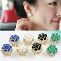 Fashion Women Lady Crystal Rhinestone Flower Rose Ear Stud Earrings Jewelry 1.1x1.8cm