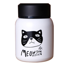 Cute Cartoon Cat Head Portrait Small Vacuum Flask Thermos Bottle With Lid Stainless Steel Portable Tour Thermocup Children Gift