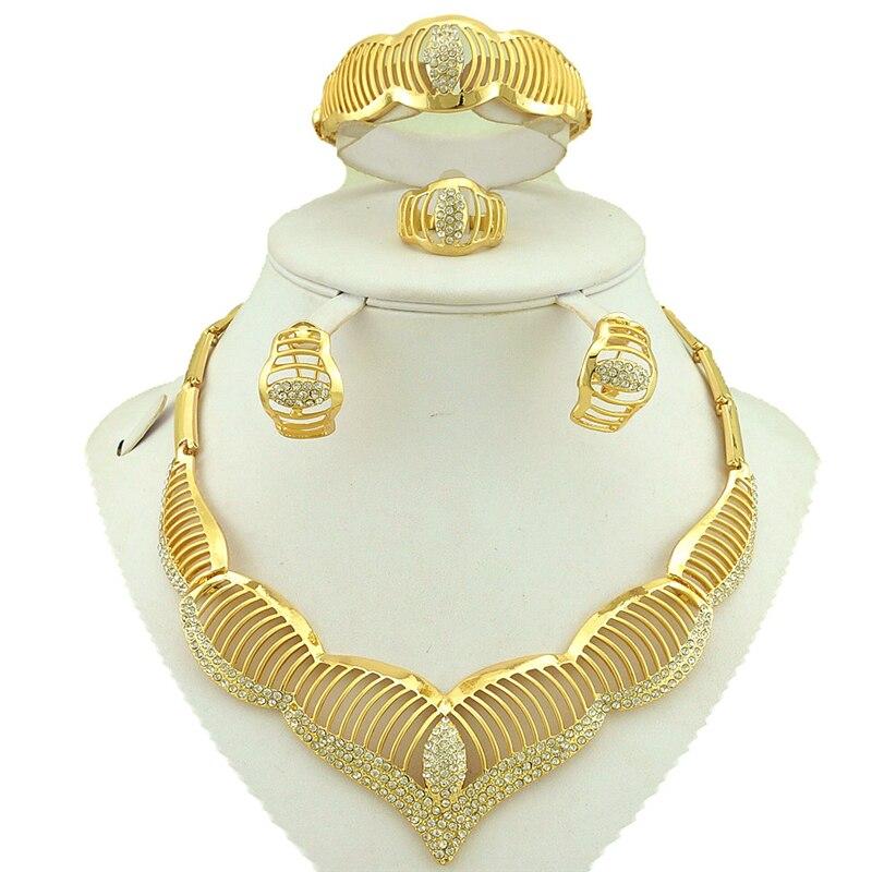 Золотые украшения комплекты Свадебный комплект ювелирных украшений костюм женщины комплект ювелирных изделий