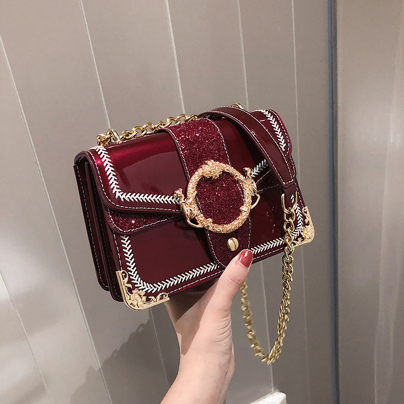 2019 Fashion New Handbag High Quality Pu Leather Women Bag Patent Leather Bright Shell Small Square Chain Shoulder Bags