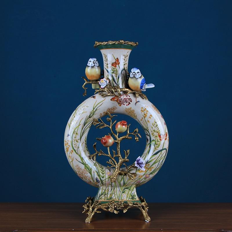 Oiseaux lumineux sur quatre Branches Vase en céramique maison salon chambre décoration cuivre Vase cadeau décoration de ménage