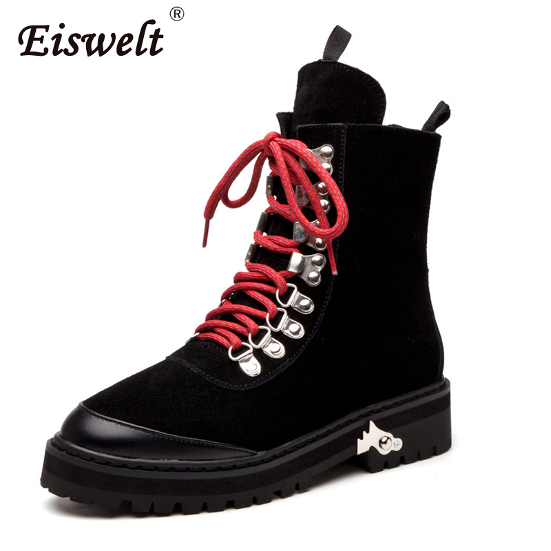 EISWELT Women Boots Women's Genuine Leather Boots Ankle Boots Fashion Lace Up Heel Boots Winter Shoes Female Plush#ZQS211 front lace up casual ankle boots autumn vintage brown new booties flat genuine leather suede shoes round toe fall female fashion