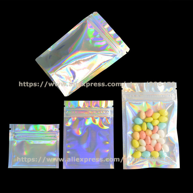 100 Pcs Aluminum Foil Hologram Packaging Zip Lock Food Mylar Bags Medical Coffee Smell Proof Package Heat Seal Reclosable Pouch