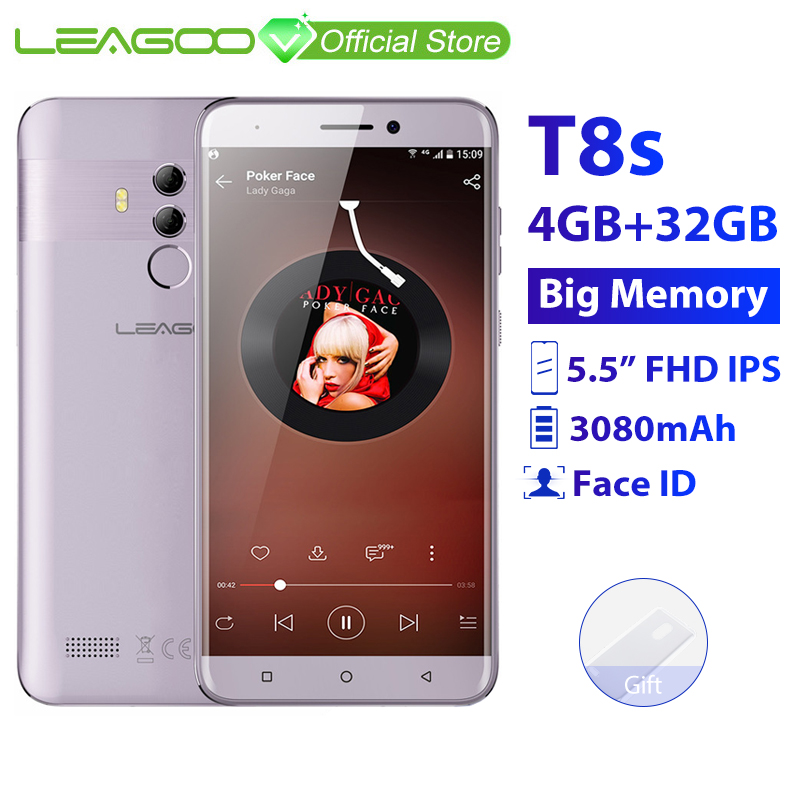 "LEAGOO T8s  4GB RAM 32GB ROM Mobile Phone Android 8.1 5.5"" 1920*1080 MTK6750T Octa Core Face ID 13MP Dual Camera 4G Smartphone"