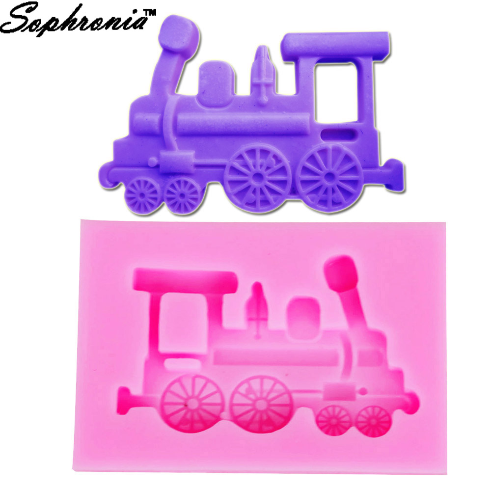 10PCSSET M383  Train Head Shaped Silicone Mold Cake Decoration Fondant Cake 3D Mold Food Grade 5.9*4.3*1CM