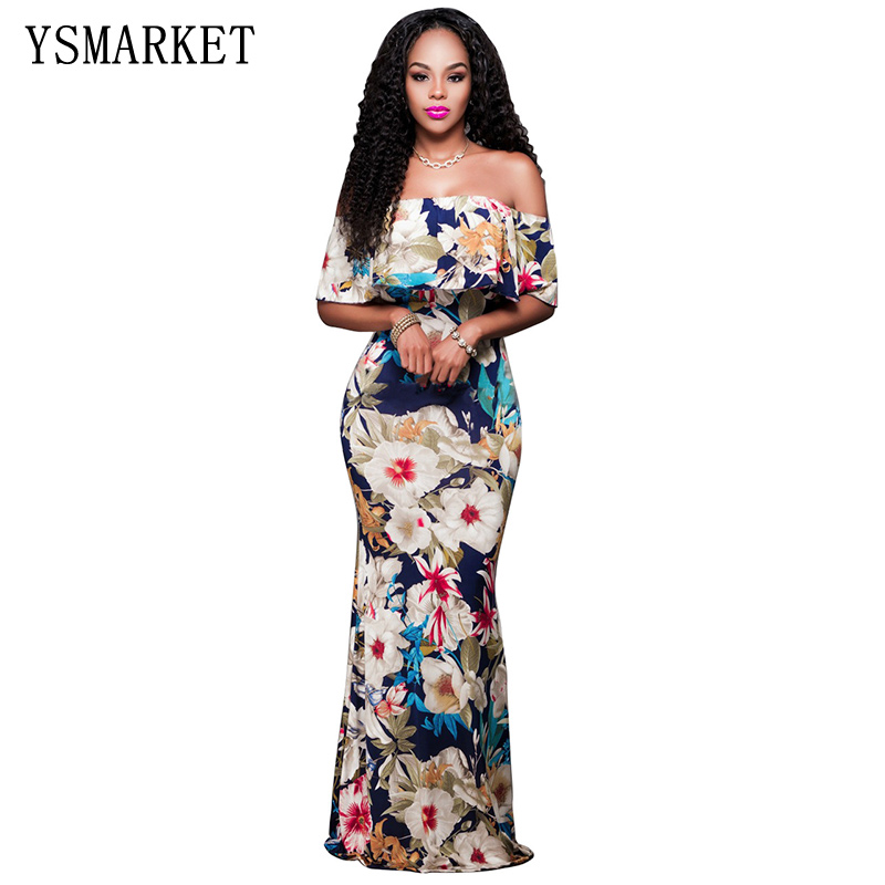 Buy Cheap Tropical Print Dress off shoulder Women Long Party Dresses 2017 Elegant Bohemia Dress Maxi Mermaid Gown Vestido de festa LC61189