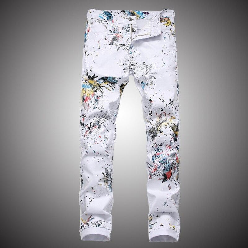 Mens White Jeans Pants 2019 Fashion Printed Denim Trousers Slim Hip Hop Streetwear Jeans Pencil Pant For Men WY293