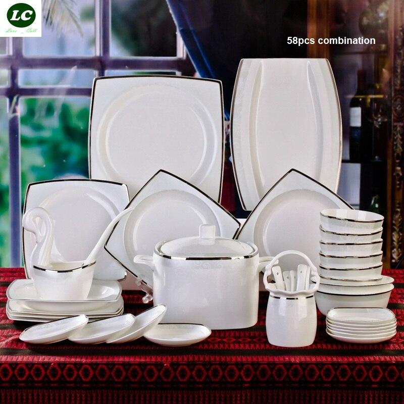 free shipping dinnerware set ceramic bone china 58pcs luxury silver Jingdezhen tableware avowedly dishes set plates bowls trophy