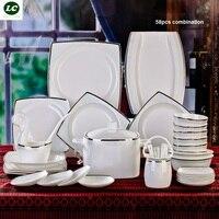 Darmowa wysyłka zestaw obiadowy ceramiczne Jingdezhen porcelany kostnej 58 sztuk luksusowe srebrne naczynia stołowe otwarcie zestaw płyty miski