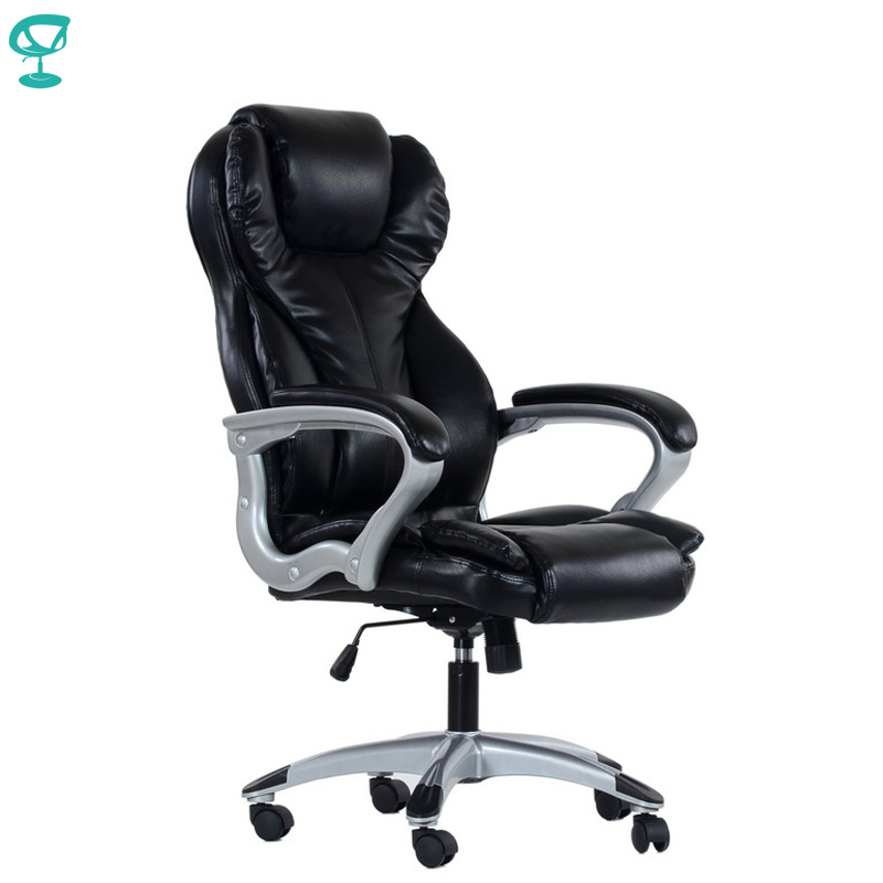 95445 Black Office Chair Barneo K-5 Eco-leather High Back Plastic Armrests With Leather Straps Free Shipping In Russia