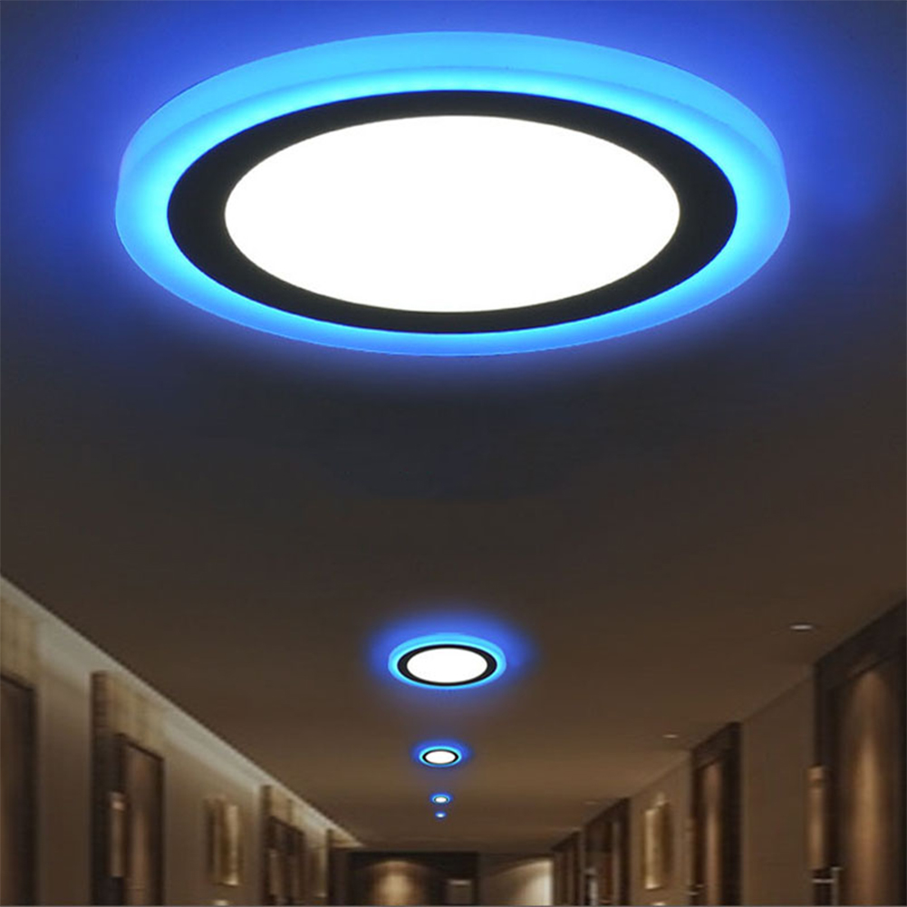 Superbright Led Panel Light Ceiling Down Lamp 5W 9W 16W 24W White + Blue Dual Colors Acrylic Recessed Lighting Lamps AC85-265V
