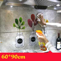Kitchen Self Adhesive Wallpapers Aluminum Foil Kitchen Stove Cabinet Stickers Oil Proof Waterproof Cartoon Wall Sticker