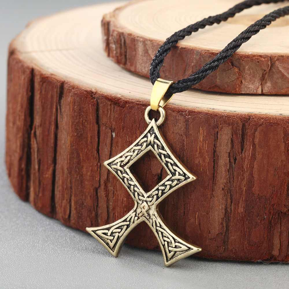 CHENGXUN Unik Gaya Busana Unisex Pria Wanita Kalung Collier Viking Pendant Retro Lintas Simpul Celtic Perhiasan Jimat Slavia