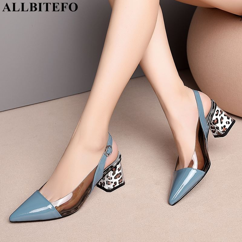 ALLBITEFO Thick Heel Full Genuine Leather Pointed Toe High Heels Women Sandals High Quality Women High Heel Shoes Summer Sandals