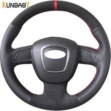 KUNBABY из натуральной кожи с замшевой чехол рулевого колеса автомобиля для Audi A3(8 P) 2008-2013 A4(B8) 2008-2010 A5 2008-2010 A6(C6