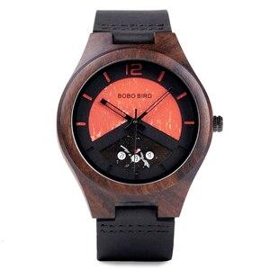 Image 2 - BOBO VOGEL Ebenholz Holz Uhr Herren Holz Datum Handgelenk Uhren Uhren in Holz Box relogio masculino Akzeptieren Logo Drop Verschiffen