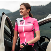Santic Women Short Sleeve Cycling Jersey Pro Fit Reflective Ladies Road MTB Bike Bicycle Summer Quick Dry