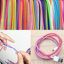 1pc 58cm Mixed Data Cable Protective Sleeve Spring twine For iphone Android USB Charging earphone Case Cover Bobbin winder
