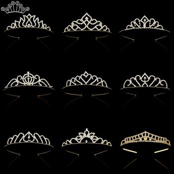 Moda dla nowożeńców księżniczka tiary i korony z pałąkiem na głowę ślubne akcesoria ślubne diadem kolor srebrny diadem włosy ślubne biżuteria tanie i dobre opinie gakayong Miedzi Rhinestone Tiaras Dziewczyny TRENDY Hairwear GKY001 PLANT Fashion head decorations crown for girls wedding hair jewelry for women