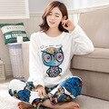 Invierno libre del envío más tamaño engrosamiento conjunto ropa de dormir femenina coral polar Pijama de franela para 100 kg