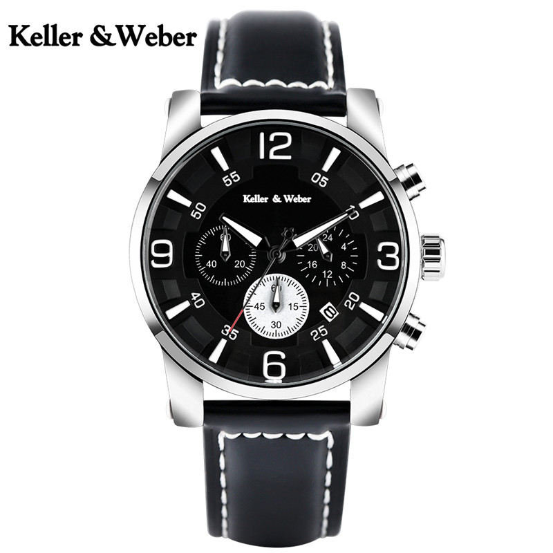Keller & Weber Men Wristwatch Chronograph 30M Waterproof Stylish Sport Male Stop Watch Soft Genuine Leather Band Aviator Clock keller