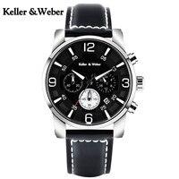Keller Weber Men Wristwatch Chronograph 30M Waterproof Stylish Sport Male Stop Watch Soft Genuine Leather Band