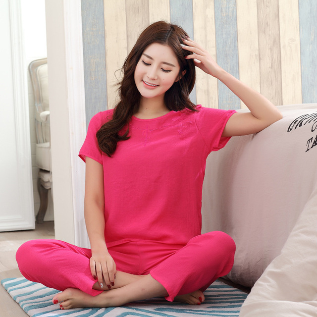 New Green Print Female Pajamas Set Sleepwear Chinese Women Cotton Linen Pyjamas Suit Flower Nightwear M L XL XXL YZ089