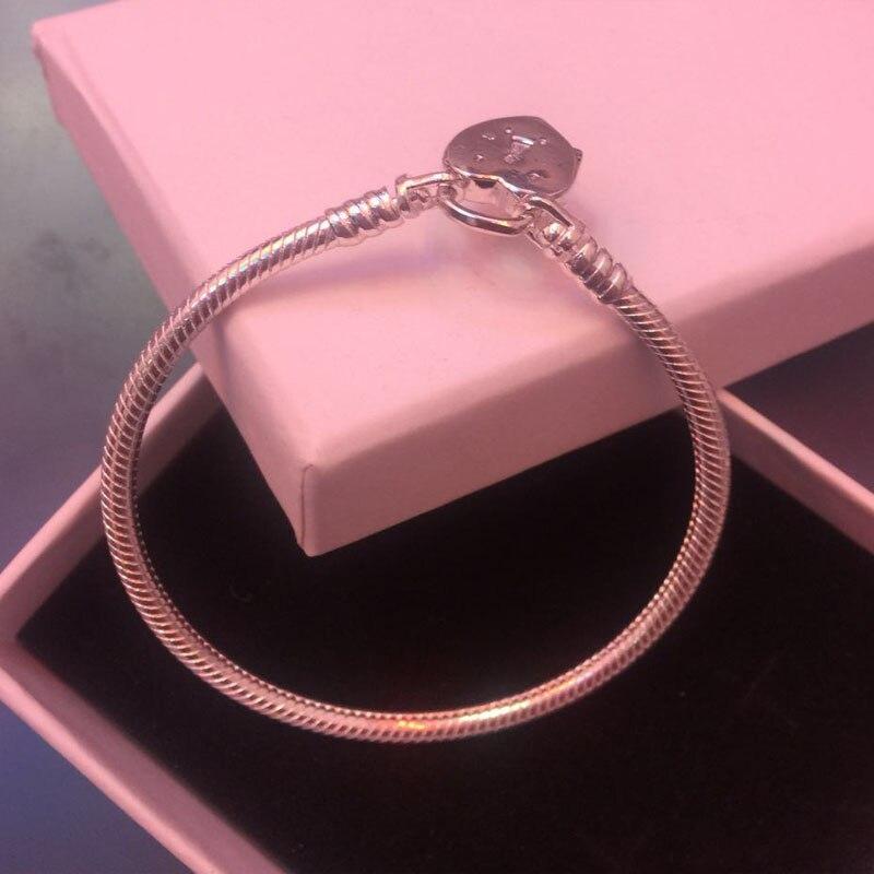 2018 nouveaux Bracelets 100% 925 Sterling argent D'origine classique bracelet avec coeur DIY D'origine charme bijoux pour femmes