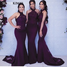 SuperKimJo Deep Purple Bridesmaid Dresses Long Lace Applique Mermaid Halter Cheap Wedding Party Dress Vestido Madrinha