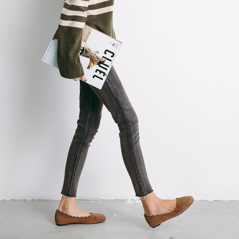 Spring New Korean Version of Autumn Jeans Black-grey High Waist Tight Nine-point Skinny Women