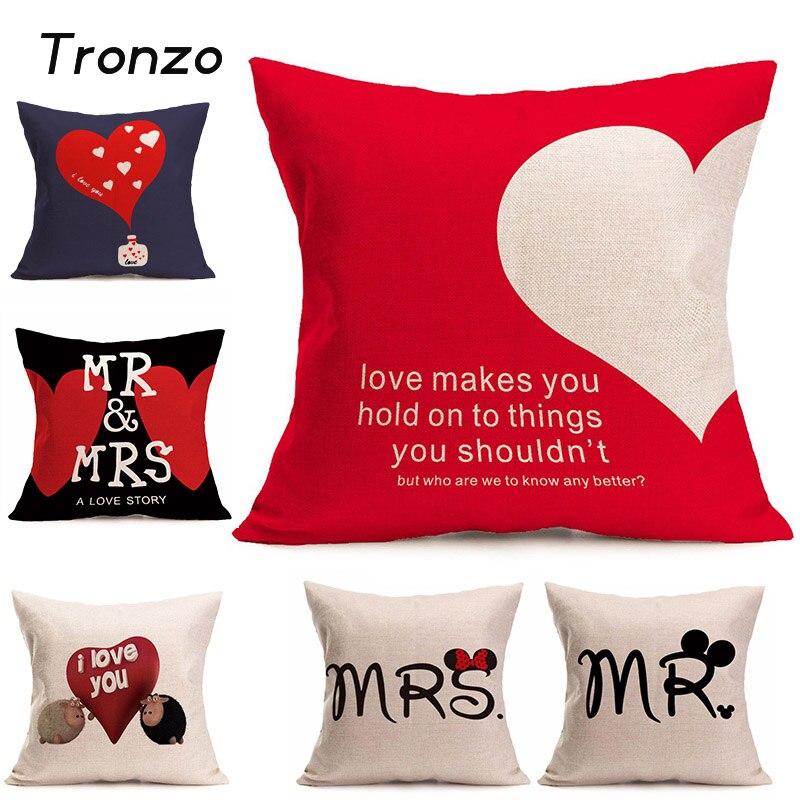 tronzo wedding decoration cartoon romantic pillow case burlap mr mrs home decor pillowcases heart jute decoration