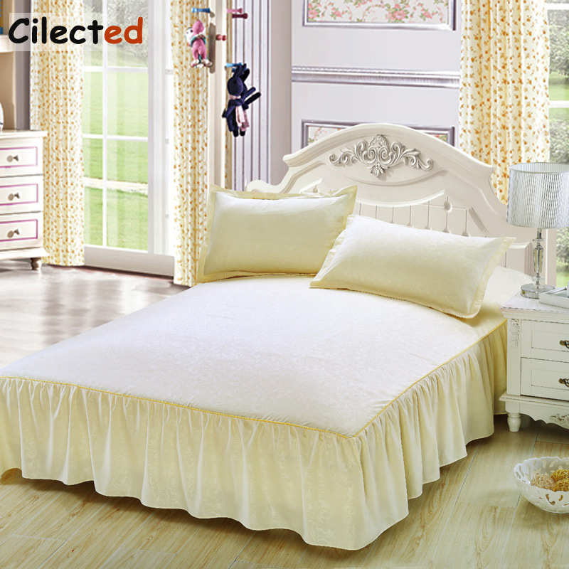 Cilected new wedding solid color bed cover bedspread pillowcase lace skirt mattress bed cover slip protection sleeve 3pcs/set