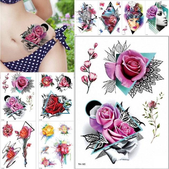 Us 082 36 Offuroda 1 Piece Tworzą Fałszywy Tymczasowe Tatuaże Naklejki Rose Kwiaty Ramię Ramię Tatuaż Wodoodporna Kobiety Big Flash Tatuaż Na