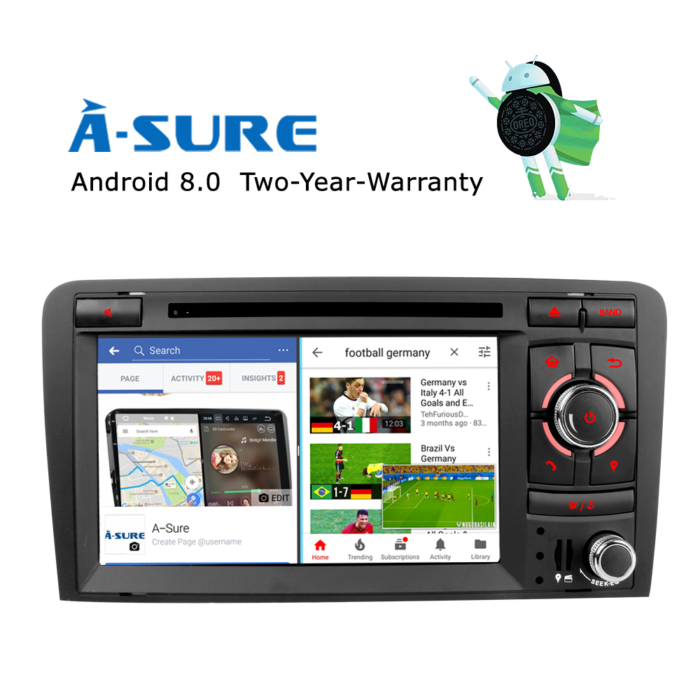 Android 8.0 Car DVD GPS Player Car radio for Audi A3 (2003-2011) S3 RS3 RNSE-UP Navigation With Wifi 4GB RAM 8 core