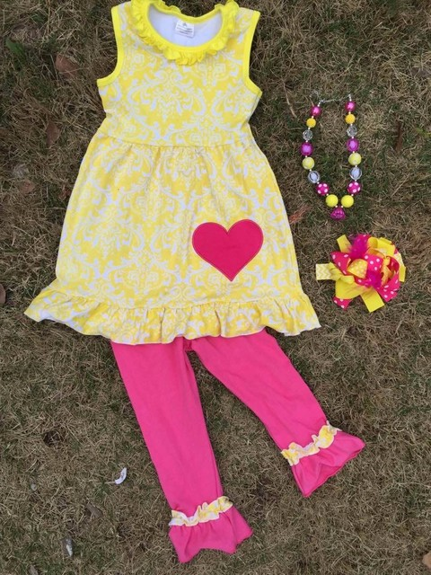New Arrival Fashion  Sleeve Tops yellow and hot heart  Shirt Clothes Outfits Kids girls Shorts Suit matching necklace and bow