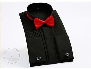 Image 5 - Mwxsd 2019 mężczyźni tuxedo koszula ślubna slim fit z długimi rękawami solidna francuska koszula fałdy jaskółka kołnierz koszula koszulka homme