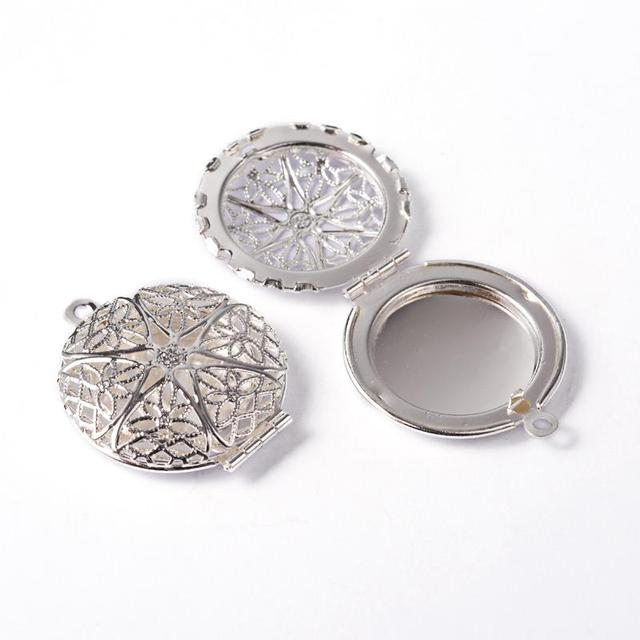 50pcs Flat Round Brass Diffuser Locket Pendants Picture Frame Charms ...