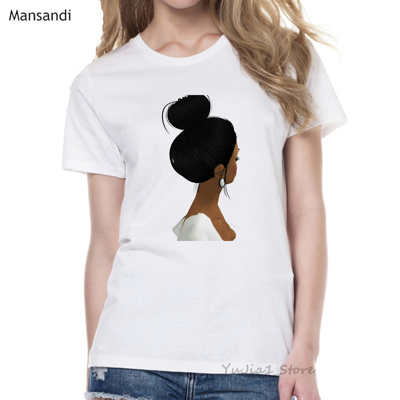 Melanin Poppin Shirt vogue t shirt women black African Curly Hair girl printed tshirt femme harajuku clothes female t-shirt tops 12