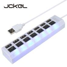 Jckel multi 7 portas usb 2.0 hub adaptador de alta velocidade com interruptor de ligar/desligar divisor portátil usb para computador portátil