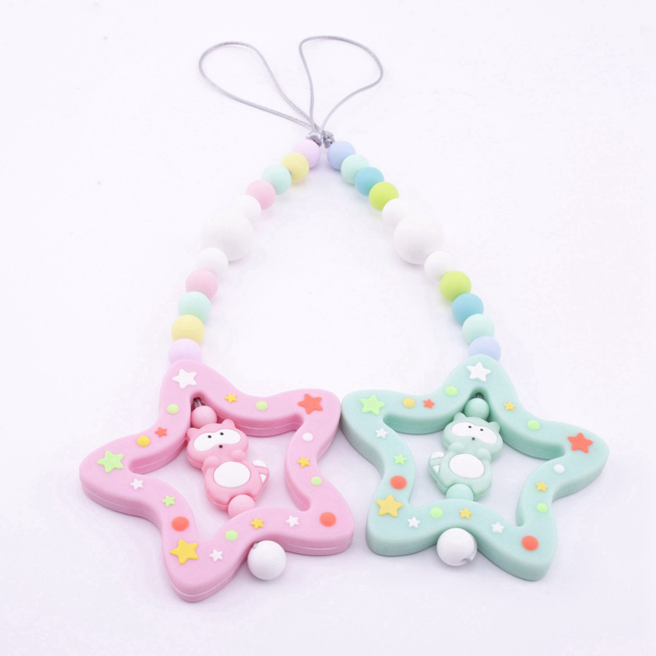 Bite Bites Food Grade Silicone Teether Christmas Mint Stars DIY Teething Chain Accessories Infant Toys BPA Free Baby Teether