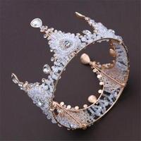 Retro Crystal Bride Tiara Crown Handmade Beads Headdress Queen King Tiaras And Crown Wedding Accessories Hair