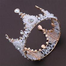 Retro Crystal Bride tiara crown Handmade beads headdress Queen King Tiaras and Crown Wedding accessories Hair Jewelry Women