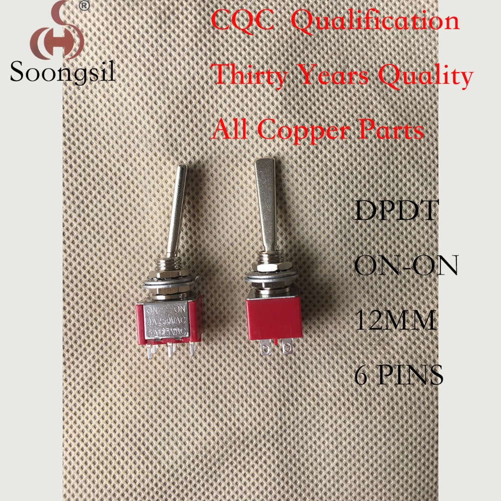 Free Shipping 5PCS/lot New Long Flat handle 6 Pin ON-ON DPDT CQC UL ROHS Silvery Point Toggle Switch AC 6A/125V 3A/250V free shipping 5pc lot 3 pin on off on 3 position cqc rohs silver point flat handle rc transmitter ac 6a 125v